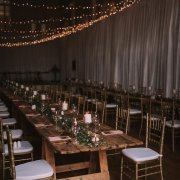 fairy lights, table setting