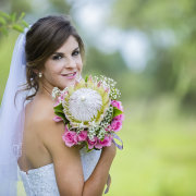 bouquet, hair, makeup, protea