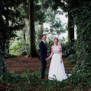 bride and groom, forest
