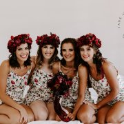 bride and bridesmaids, flower crowns