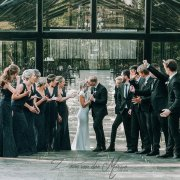 bridal party, kiss, kiss, kiss