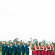 bride, bridesmaids, bridesmaids, groom, groomsmen