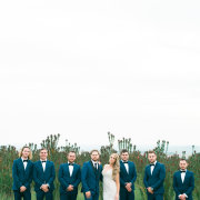 bride, groom, groom and groomsmen