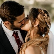 bride, groom, kiss, kiss