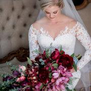 bouquet, bride, greenery, hair, makeup, tulips