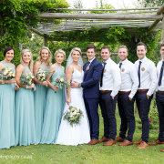 blue, brides maids, groomsmen