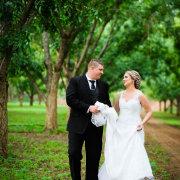bride, greenery, groom