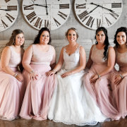 bride, bride and bridesmaids, brides maids dresses