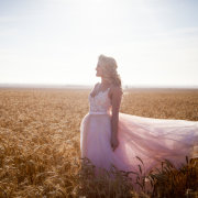 field, wedding dress, wedding dress