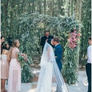 forest ceremony, kiss, veil