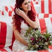 bouquet, bride, hair, red