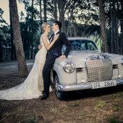 bride and groom, bride and groom, car