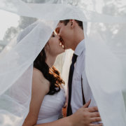 bride, groom, kiss, veil