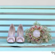 bouquet, proteas and roses, shoes