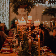 candles, greenery, table decor
