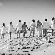beach wedding, bridal party