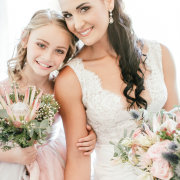 bride, bride and flowergirl