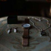 earrings, necklace, watch