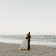 beach, bride, groom