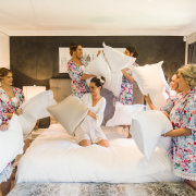 bride and bridesmaids, dressing gowns