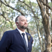 ceremony, forest ceremony, forest wedding, groom and groomsmen, grooms suit