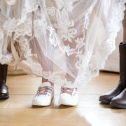 bridal shoes, bride, bride and flowergirl, lace wedding dress