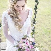 bridal bouquet, bridal hair, bride, fairytale decor, lace wedding dress, bride of the year