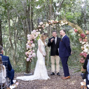 bride and groom, bride and groom, floral arch, forest, fairytale decor, forest ceremony, forest wedding