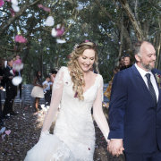 bride & groom, bride and groom, bride and groom, confetti, forest ceremony, forest wedding, just married, petals