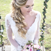 bridal hairstyles, bridal bouquet, bridal make-up, bride, lace wedding dress, bride of the year