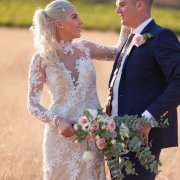 beaded, bouquet, lace, wedding dress