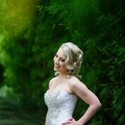 bride, dress, greenery, hair