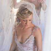 beaded, pink, wedding dress, beaded headpiece