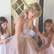 beads, flower girl, wedding dress