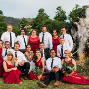red, wedding party