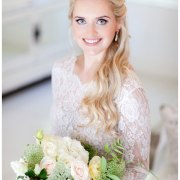 bouquet, hair, makeup, wedding dress