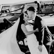 bride, car, groom, kiss