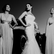 bride, car, bridemaids