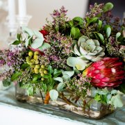 flowers, greenery, proteas, succulents