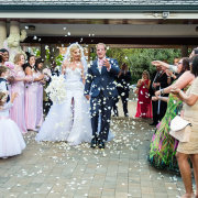 bride and groom, bride and groom, confetti, petals