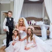 bride, flower girls, page boy