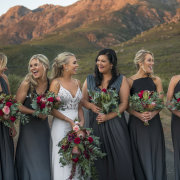 bouquet, bridesmaids dressses, grey