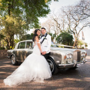 bride and groom, bride and groom, car