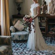 bridal bouquet, lace wedding dress