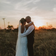 bride, groom, sunset