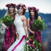 bouquets, bridesmaids dresses, red floral bouquet