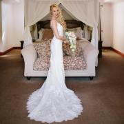 wedding dress, bouquet