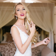 bridal hair, bridal make up, makeup, perfume, red lips, wedding dress, wedding nails, white dress