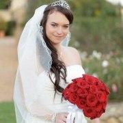 bouquet, tiara, veil
