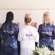 bridesmaids, bridesmaids, getting ready gowns